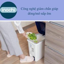 Thùng rác đạp chân chữ nhật Inochi Hiro 15L xuất Nhật - Kháng khuẩn, khử mùi