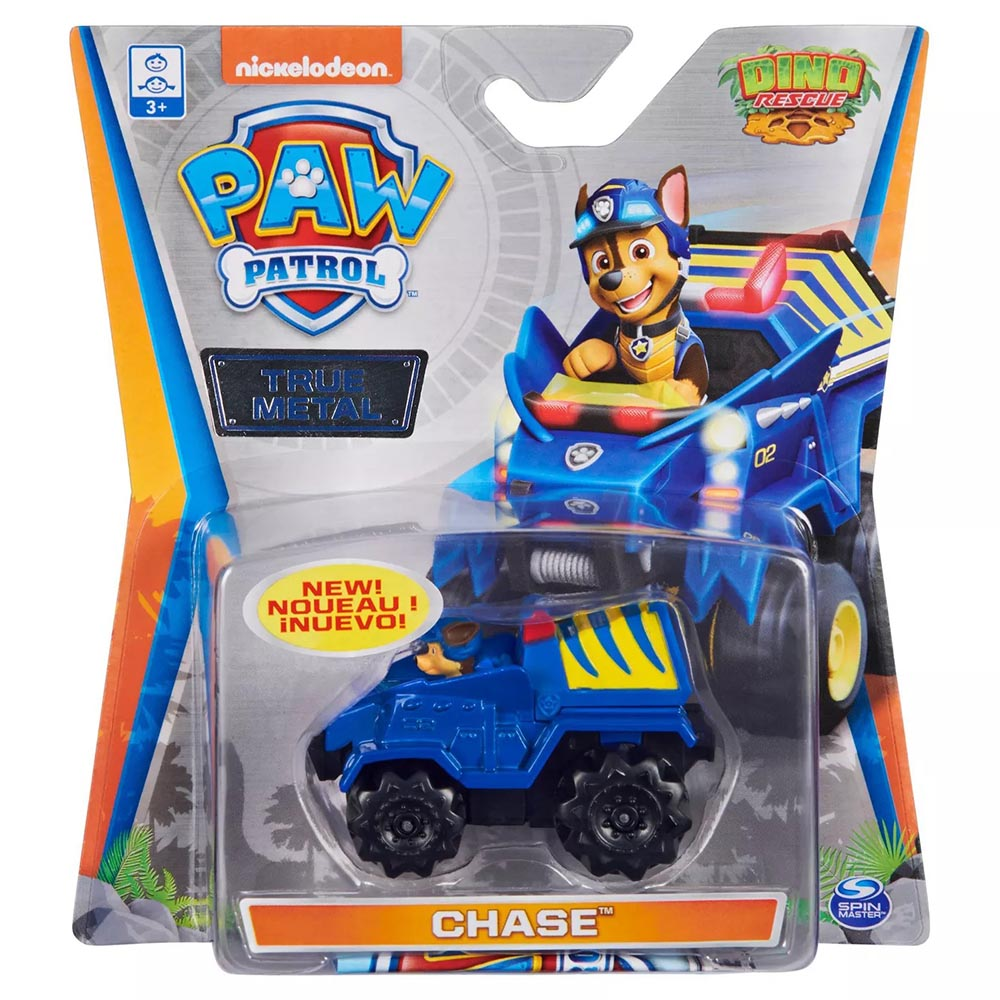 Đồ chơi mô hình Xe chó cứu hộ Paw Patrol True Metal tỷ lệ 1:55 - Chase giải cứu khủng long Dino