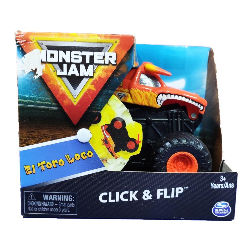Đồ chơi Xe đua địa hình Monster Jam Click&Flip ấn bật và nhào lộn tỷ lệ 1:43 - El Toro Loco