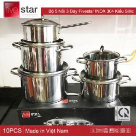 Bộ 5 Nồi 3 Đáy Fivestar INOX 304 Kiểu Sillic, Hàng Chính Hãng, Bảo Hành 60 Tháng