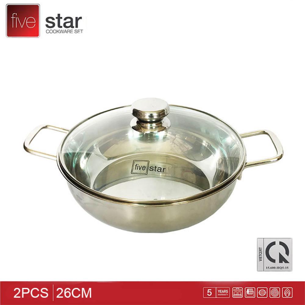 Nồi Lẩu Inox 430 Fivestar 28cm nắp kính dùng bếp từ - Hàng chính hãng, bảo hành 5 năm