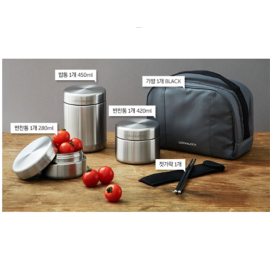 Bộ 3 Hộp Cơm Inox 304 Lock&Lock Mushroom Hot Tank Lunch Box - LHC8025SLV