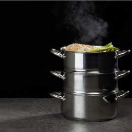 Bộ Nồi Xửng Hấp 3 Tầng Bằng Inox Lock&lock LLH1202 20cm dùng bếp từ