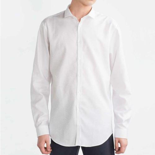 Áo sơ mi nam dài tay Slim Fit Zara Man hàng xuất -Trắng hoa văn bạc