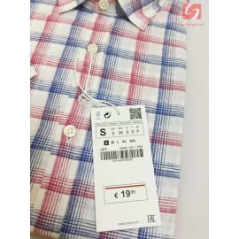 Áo sơ mi nam ngắn tay Slim Fit Zara Man hàng xuất EU - Caro đỏ xanh