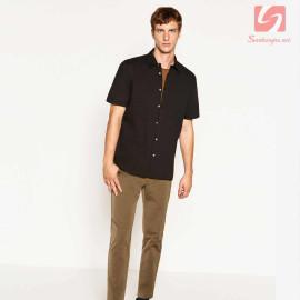 Áo sơ mi nam ngắn tay Slim Fit Zara Man hàng xuất EU - Đen hơi nâu