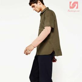 Áo sơ mi nam ngắn tay Slim Fit Zara Man hàng xuất EU - Nâu Khaki