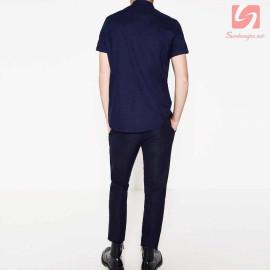 Áo sơ mi nam ngắn tay Slim Fit Zara Man hàng xuất EU - Xanh Navy