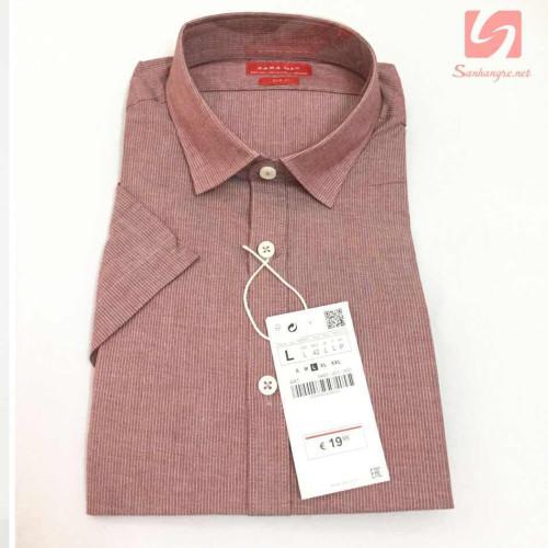 Áo sơ mi nam ngắn tay Slim Fit Zara Man hàng xuất EU - Sọc đỏ