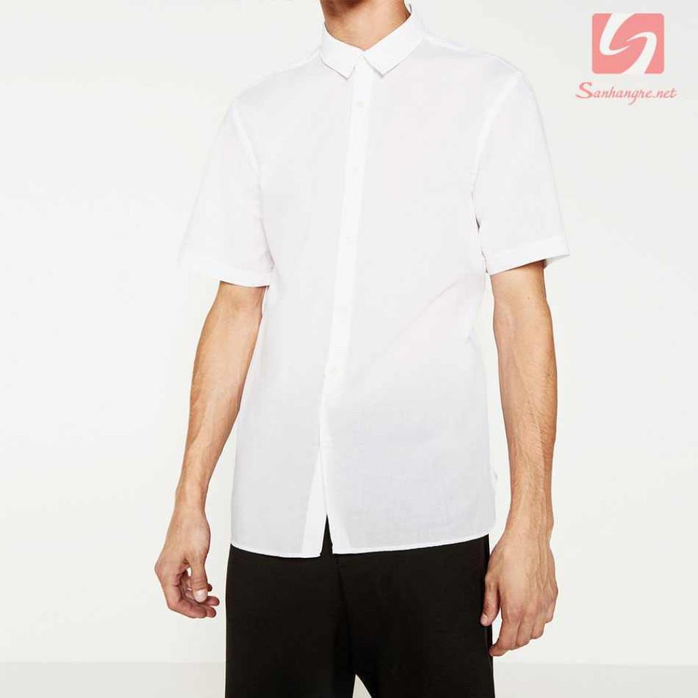 Áo sơ mi nam ngắn tay Slim Fit Zara Man hàng xuất EU - Trắng