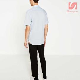 Áo sơ mi nam ngắn tay Slim Fit Zara Man hàng xuất EU - Xanh Sky