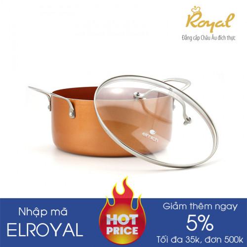 Nồi phủ sứ chống dính Elmich Royal Classic 16cm vung kính dùng bếp từ