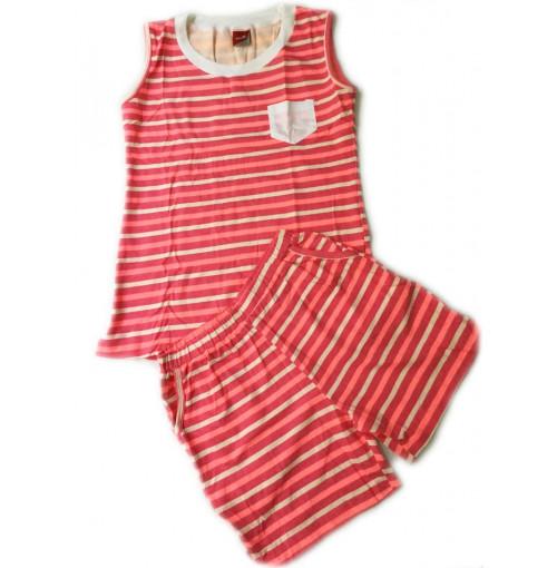 Bộ cotton mặc nhà Hàn Quốc sát nách MPShop Vitro - Kẻ ngang hồng
