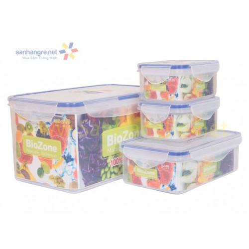 Bộ 4 hộp nhựa đựng thực phẩm BioZone BZ-4