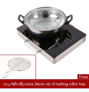 Bếp hồng ngoại Sanaky SNK-2523HGN 2000W (tặng Nồi lẩu Inox 26cm + vỉ nướng)