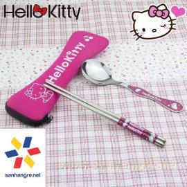 Bộ đũa thìa Inox cao cấp hình Hello Kitty Hàn Quốc