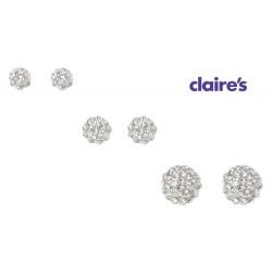 Bộ 3 đôi khuyên tai mỹ ký Claire's hàng xuất USA