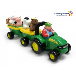 Đồ chơi xe chở động vật nông trại John Deere Animal Sounds Hay Ride phát nhạc