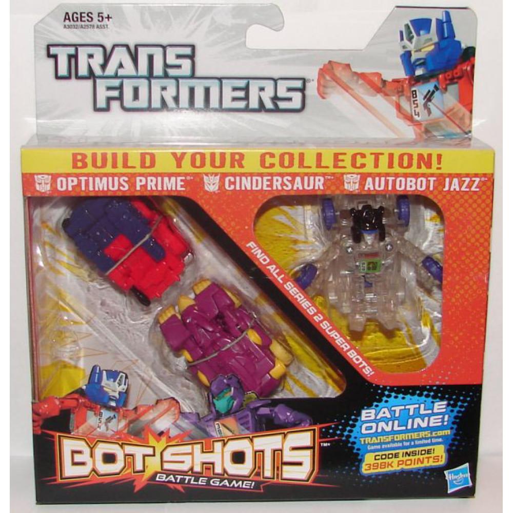 Bộ 3 đồ chơi Robot Transformer Mini Bot Shots - Cindersaur, Optimus