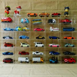Kệ Mica trong suốt 30 ô, mỗi ô kích thước 10x5x5cm trưng bầy Đồ chơi xe mô hình Tomica 52x32x5cm (Không bao gồm xe)