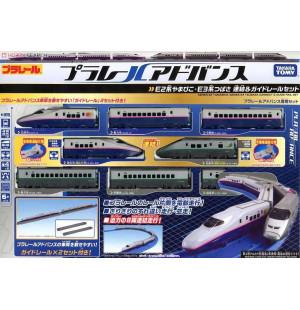 Bộ 2 mô hình tàu siêu tốc chạy pin Takara Tomy Series E2 Yamabiko / E3 Tsubasa và đường ray đôi