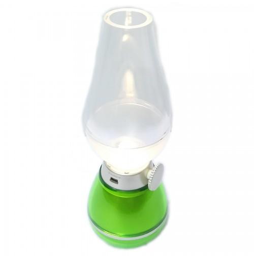 Đèn dầu LED điện tử DPLED LL01 sạc USB thổi hơi tắt mở - Xanh lá