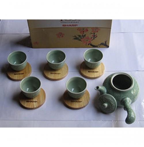 Bộ ấm trà men ngọc Donghwa quà tặng từ sharp