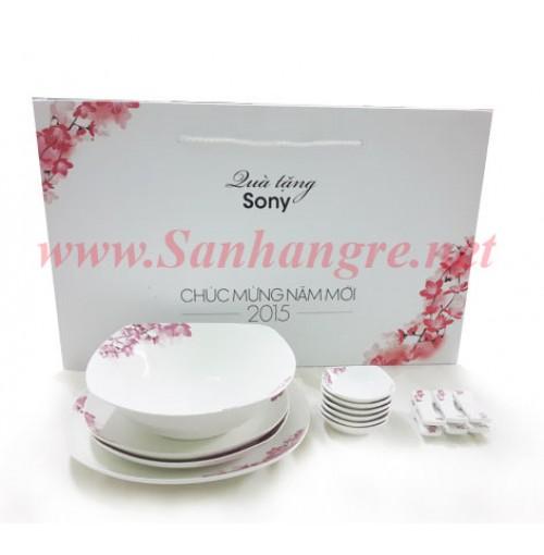 Bộ bát đĩa sứ xương hoa đào Nhật Bản quà tặng Sony