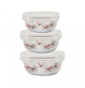 Bộ 3 thố gốm sứ cao cấp Hoa Ly Food Container DongHwa B1505S3