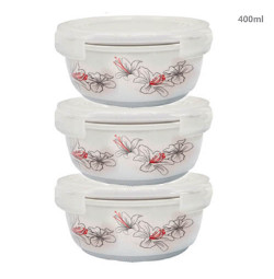 Bộ 3 thố gốm sứ cao cấp Hoa Ly Food Container DongHwa 400ml