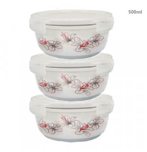 Bộ 3 thố gốm sứ cao cấp Hoa Ly Food Container DongHwa 500ml