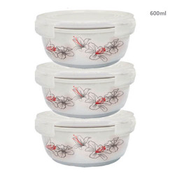 Bộ 3 thố gốm sứ cao cấp Hoa Ly Food Container DongHwa 600ml