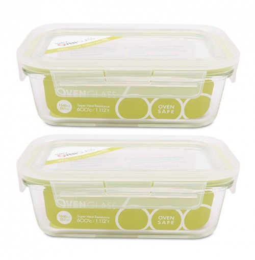 Bộ 2 hộp thủy tinh chịu nhiệt lò nướng Komax 1040ml Hàn Quốc
