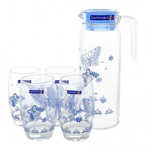 Bộ bình nước và 4 ly thủy tinh Luminarc L4806 hoa tiết Blue Butterfly