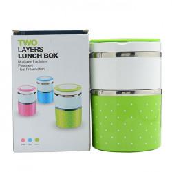 Cặp lồng cơm giữ nhiệt 2 tầng Lunch Box 930ml có quai xách xanh lá