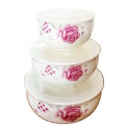 Bộ 3 bát sứ đựng thực phẩm hoa hồng Nutifood