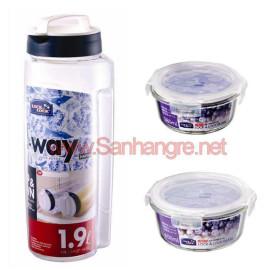 Bộ 2 hộp thủy tinh và 1 bình đựng nước 1,9L Lock&Lock LLG831S3