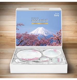 Bộ 19 món bát đĩa thìa Ngọc Phú Sĩ hoa đào Nhật Bản - Sony