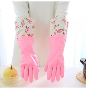 Găng tay cao su lót nỉ 2 lớp cao cổ Hàn Quốc - Hồng
