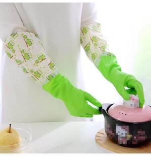 Găng tay cao su lót nỉ 2 lớp cao cổ Hàn Quốc - Xanh lá