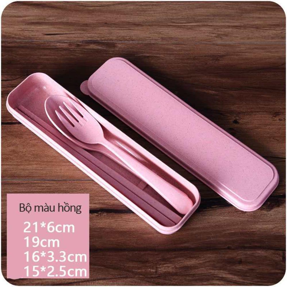 Bộ đũa thìa dĩa làm từ thân lúa mạch A533 xuất Hàn Quốc - Hồng