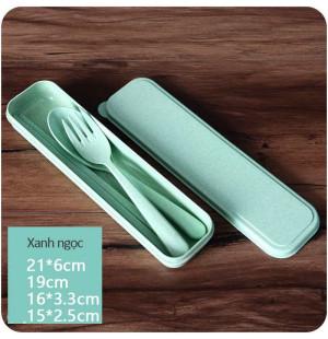 Bộ đũa thìa dĩa làm từ thân lúa mạch A533 xuất Hàn Quốc - Xanh ngọc