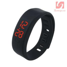 Đồng hồ LED vòng tay silicon thể thao CE101016 - Đen
