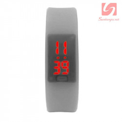 Đồng hồ LED vòng tay silicon thể thao CE101016 - Xám