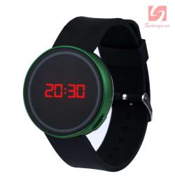 Đồng hồ LED tròn mặt cảm ứng JSS 1797 - Xanh lá