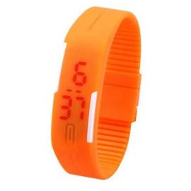 Đồng hồ LED silicon kiêm vòng tay thời trang - Nâu
