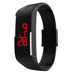 Đồng hồ LED silicon kiêm vòng tay thời trang - Đen