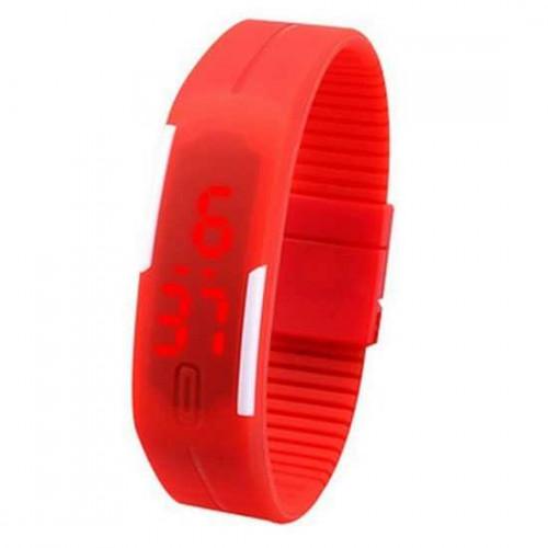 Đồng hồ LED silicon kiêm vòng tay thời trang - Đỏ