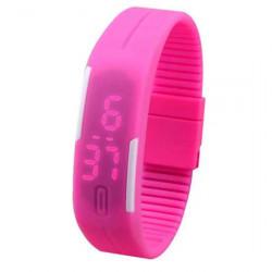 Đồng hồ LED silicon kiêm vòng tay thời trang - Hồng