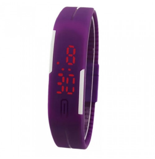 Đồng hồ LED silicon kiêm vòng tay thời trang - Tím
